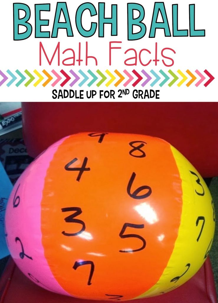 Beach ball math facts is the perfect way to practice those addition, subtraction and multiplication facts throughout the year. This hands on activity will get your kids up and moving. This is a classroom favorite for sure!