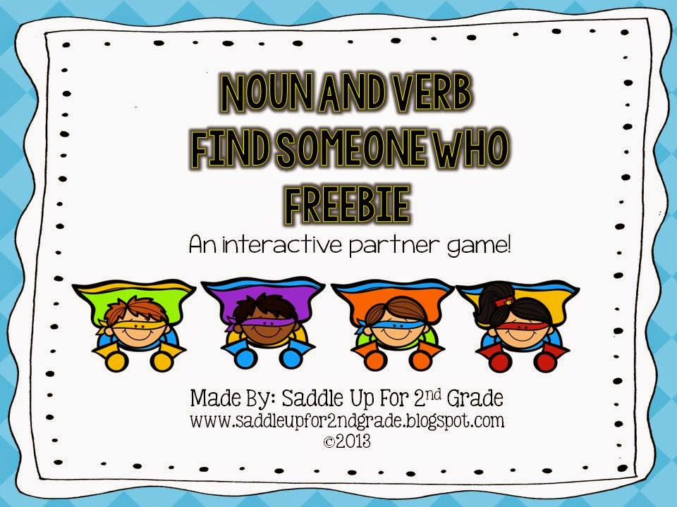 Noun Verb FREEBIE by Saddle Up For 2nd Grade