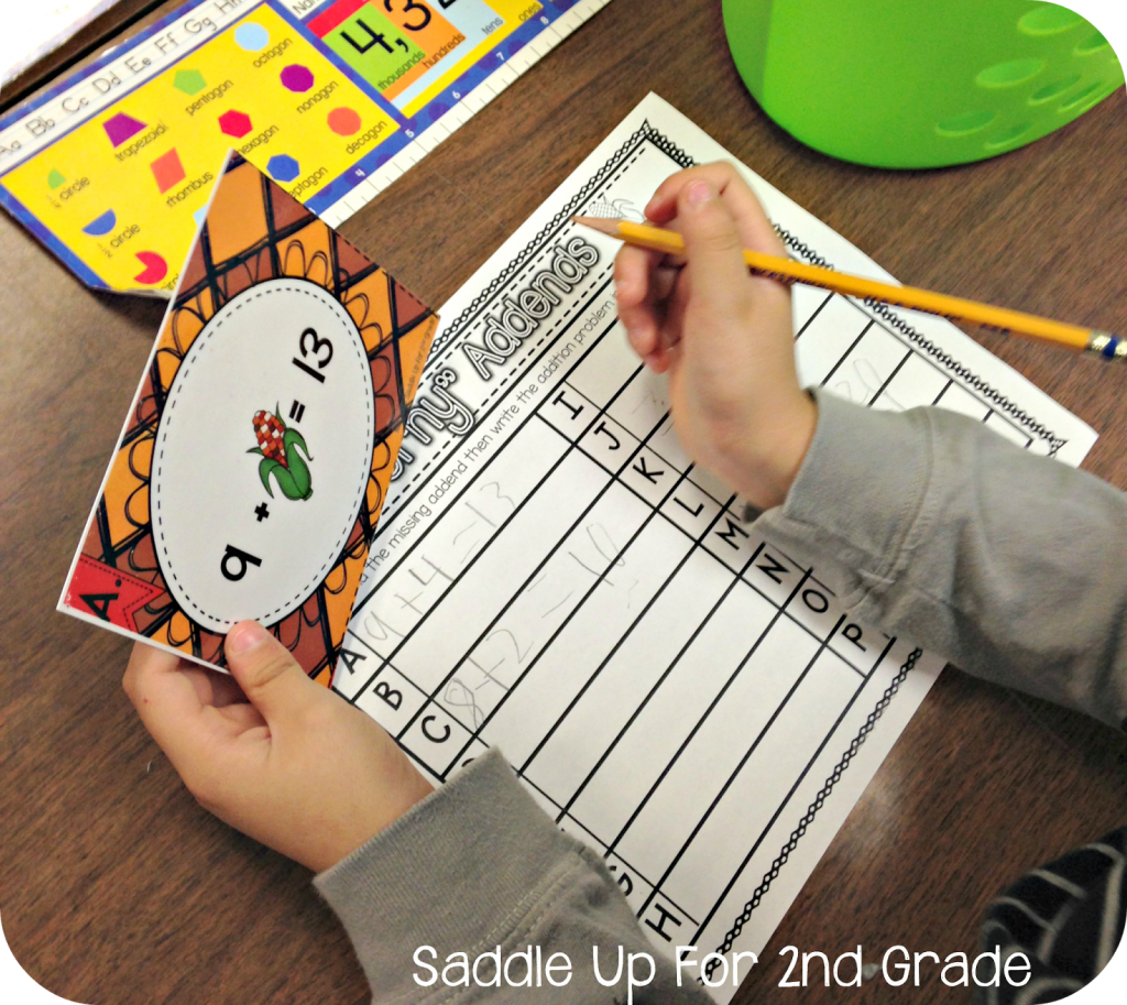 Missing addend task cards by Saddle Up For 2nd Grade