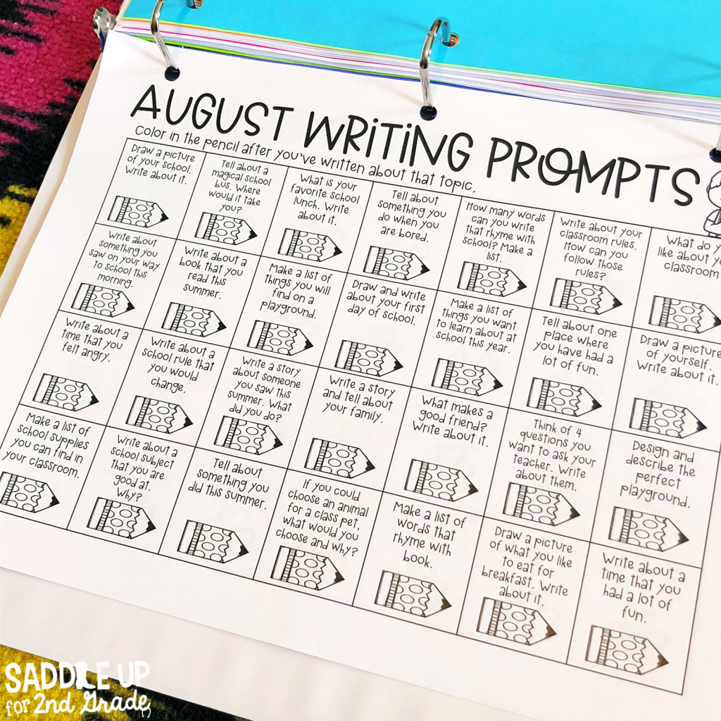 My writer's notebook is one of my favorite tools my students use during our writing block. This blog post walks you through how to set up your notebooks and is full of free resources to help you get started. These monthly writing calendars are kept inside to allow student choice when working on writing.