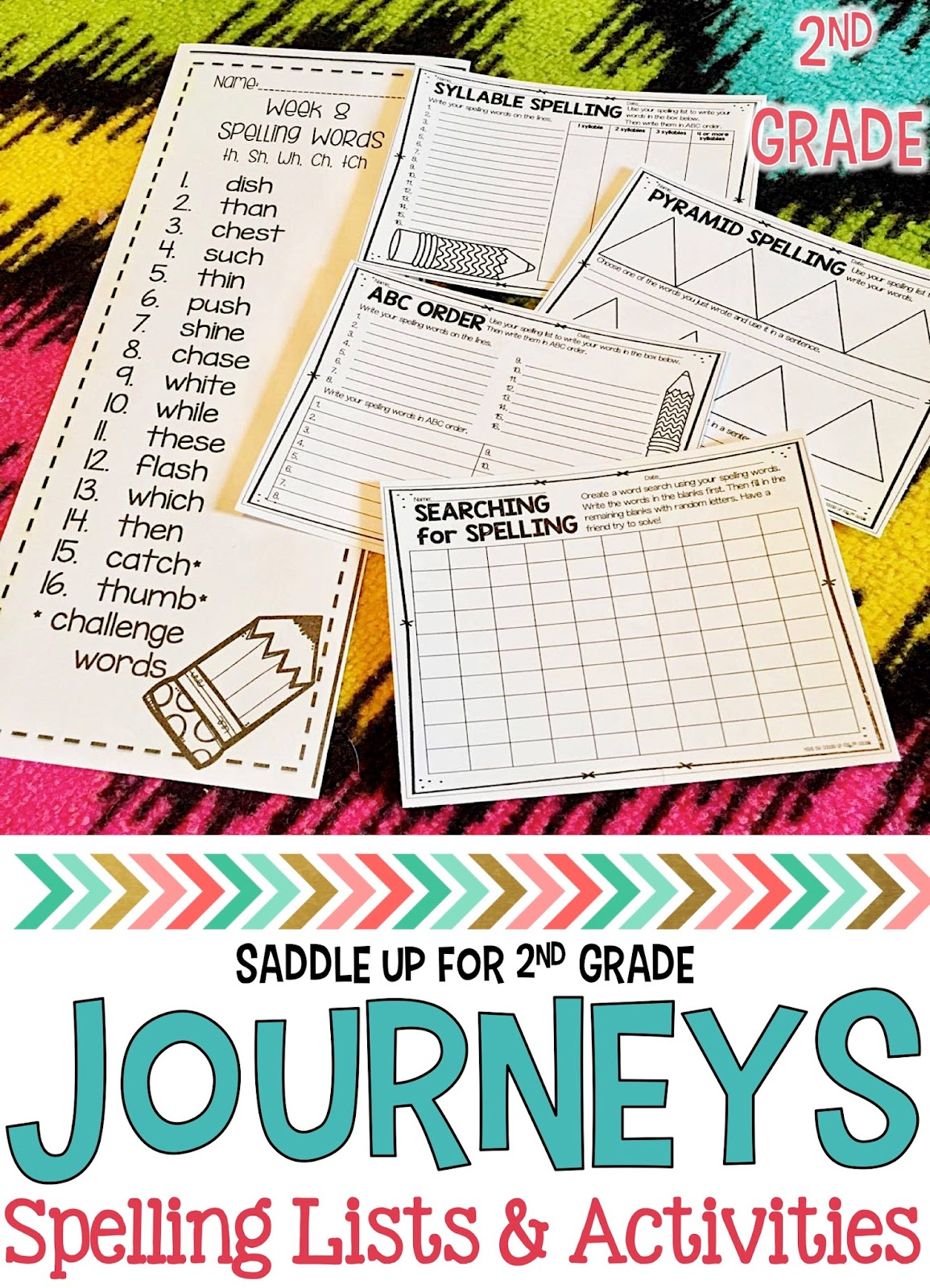 Journeys 2nd Grade Spelling Lists and Activities - Saddle Up