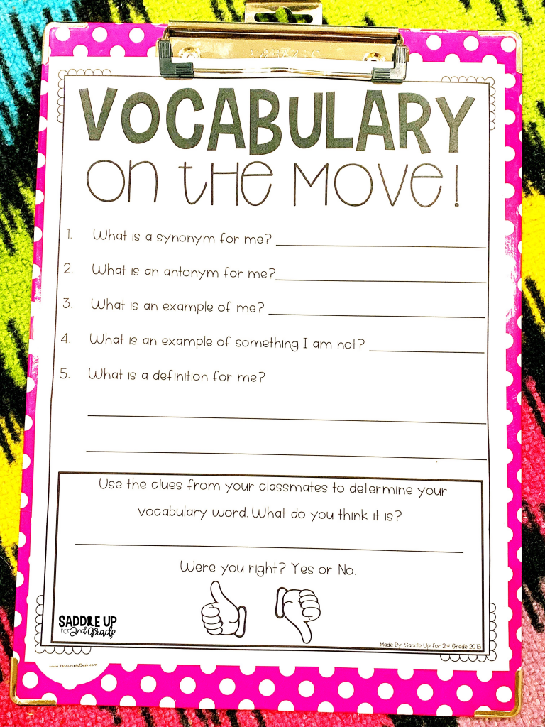 Vocabulary Game Vocabulary on the Move