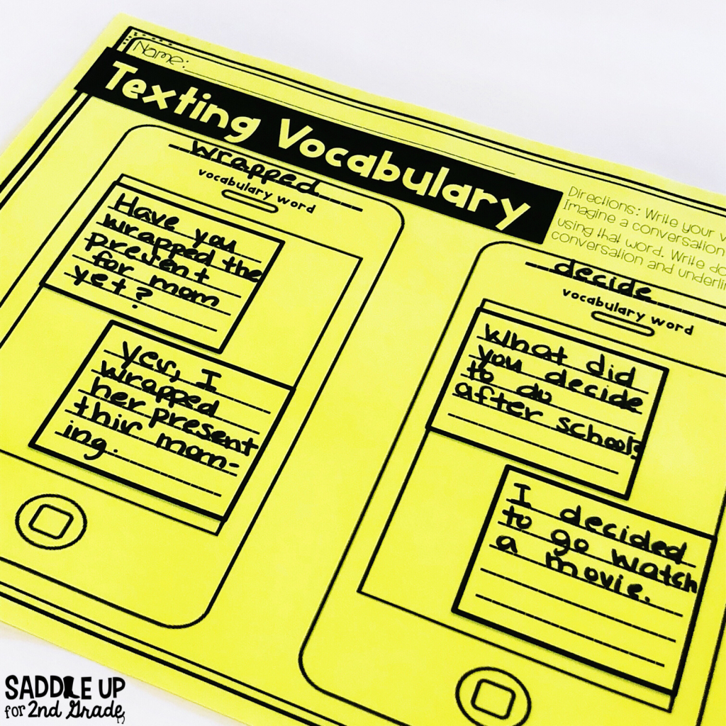 Texting Vocabulary a great activity for practicing vocabulary words. Keep your students engaged with this meaningful vocabulary activity.