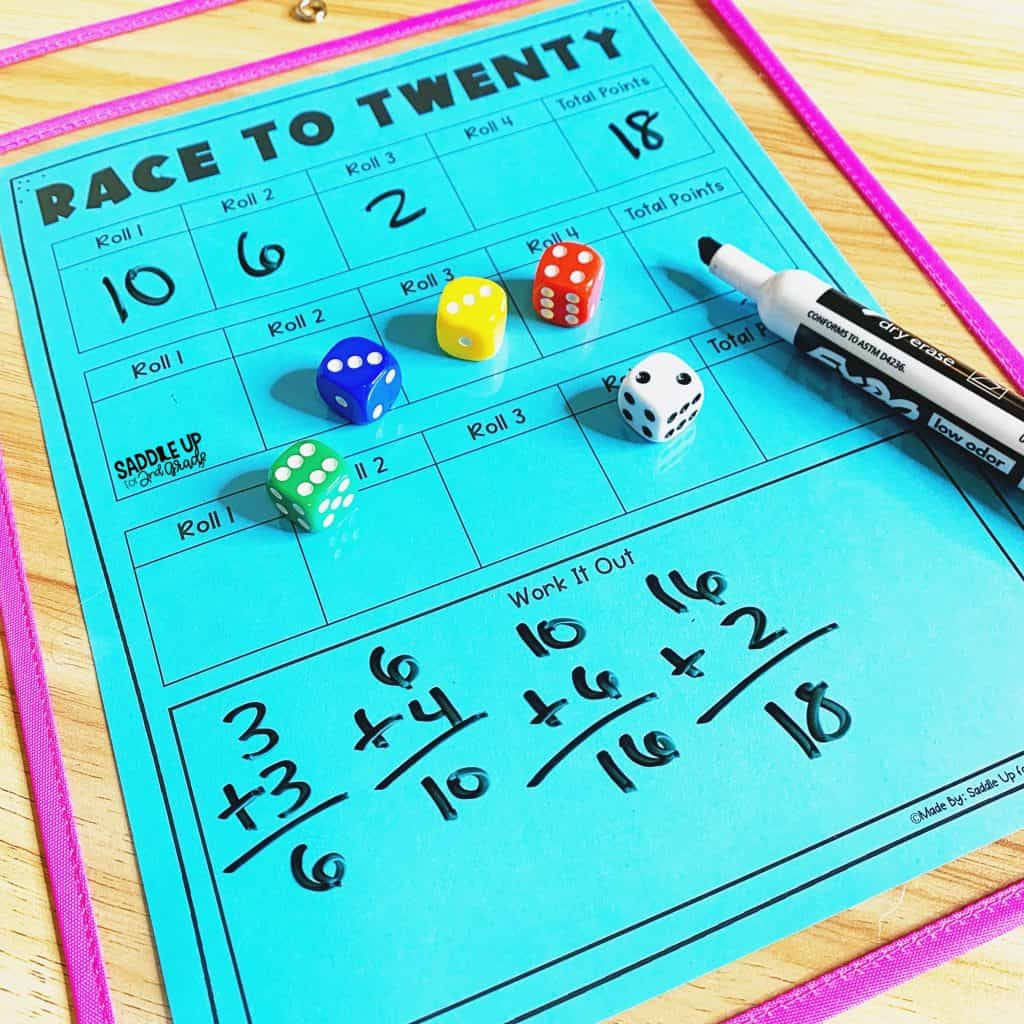Race to Twenty Math Addition Game