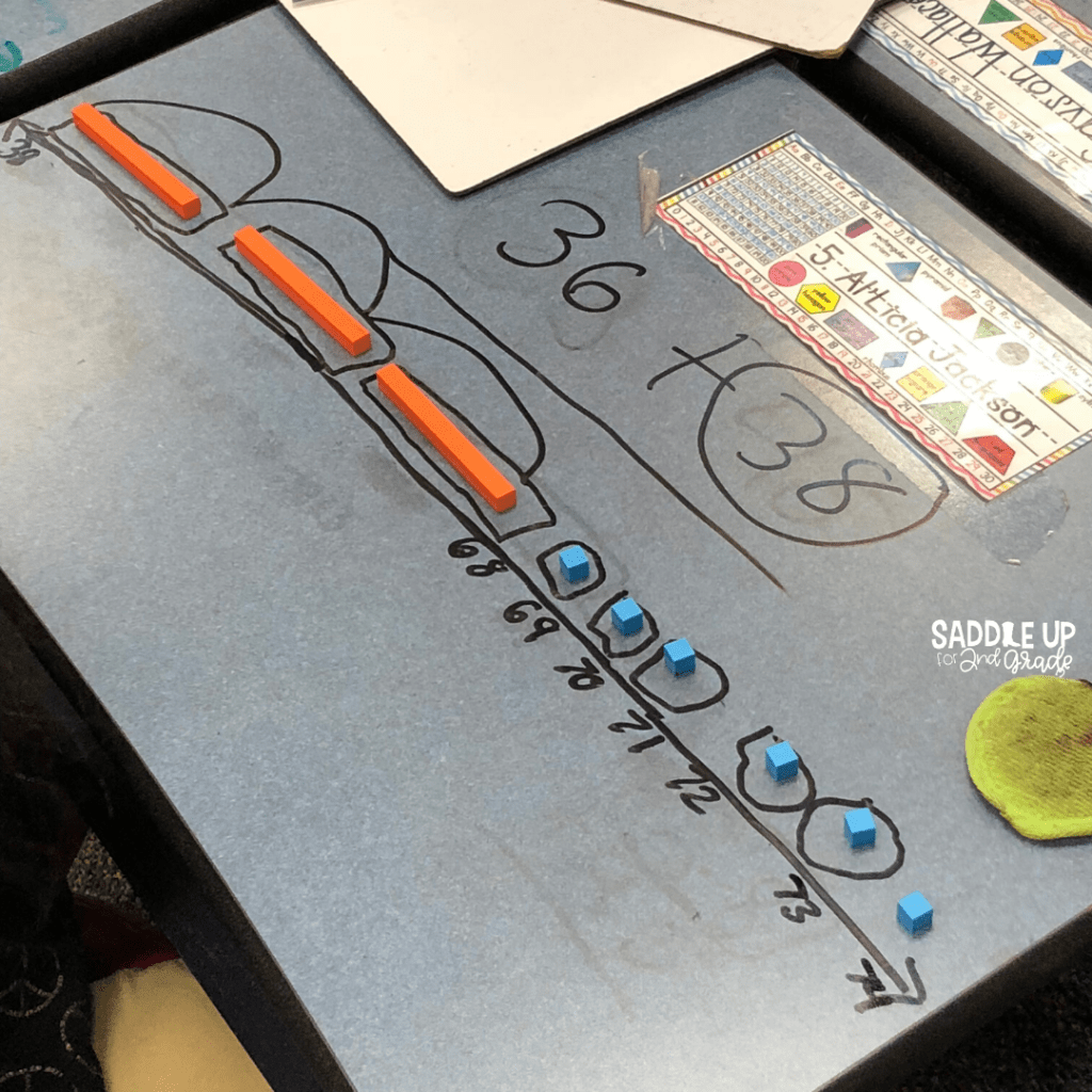 Addition with Regrouping Open Number Line