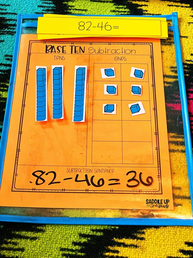 Subtraction with regrouping base ten blocks